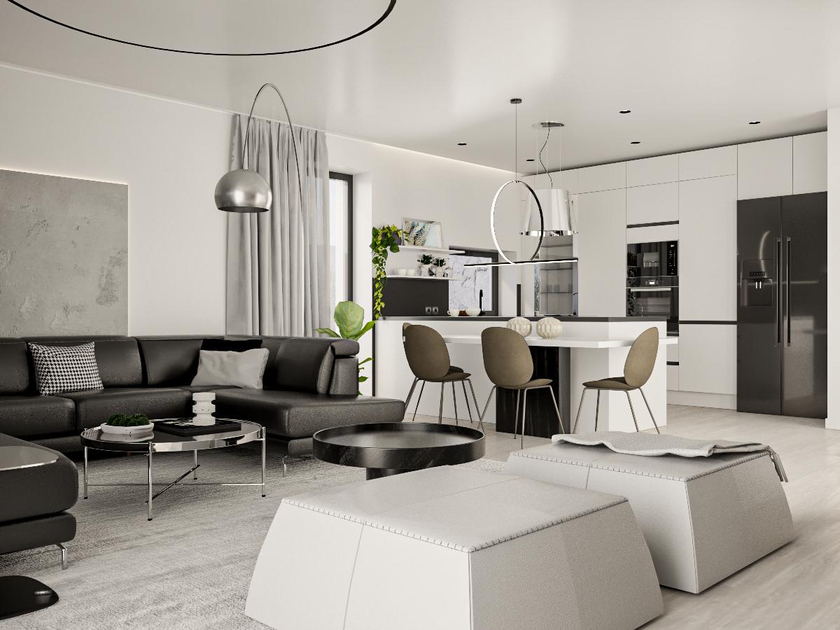 Dizajn interiéru rodinný dom obývačka s kuchyňou
